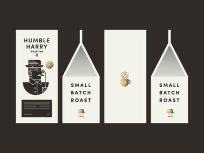 HHCo mustache vintage roasting packaging gold bag coffee