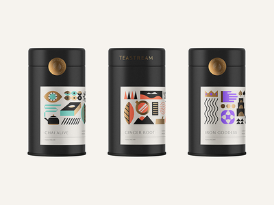 Ice T geometric modern label tin concept tea design packaging