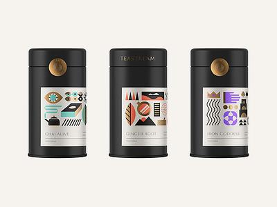 Ice T geometric modern label tin concept tea design packaging