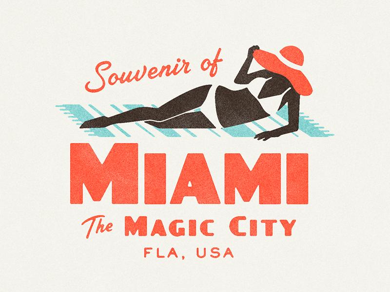 ¡Vamos a la playa! texture tropical matchbook typography florida miami vintage