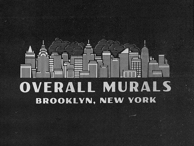 Overall New York paint clouds lockup brooklyn newyork signpainters skyline city
