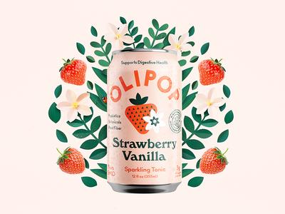 Olipoppin sparkling organic leaves strawberry branding packaging can