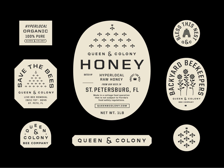 Q&C flowers queen bees label packaging branding honey