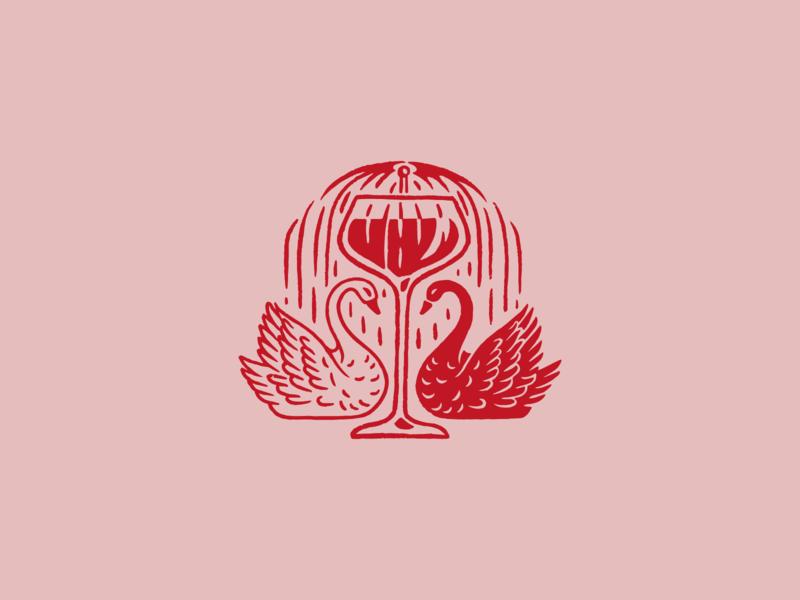 Mezzo Motif florida swan illustration vintage cocktail drink bar logo fountain