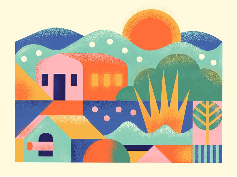 sunrise texture geometric sun coffee branding illustration