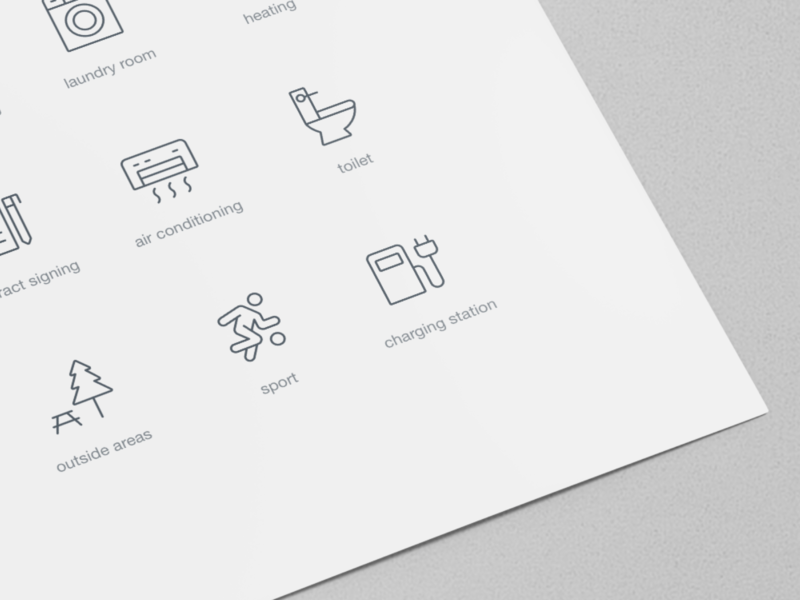 Custom icons for real estate website sport pictograms laundry toilet air conditioner vector outline ui icons real estate line icons custom icons icon design icon designer icon set