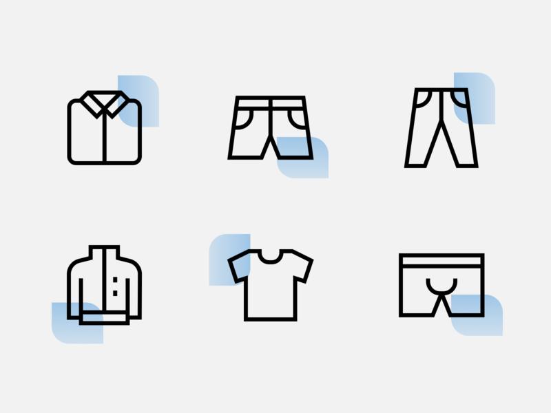 Icon design for fashion brand iconography jacket shirt shorts pants apparel fashion outline icons line icons custom icons graphic designer freelance designer icon designer icon design icon set