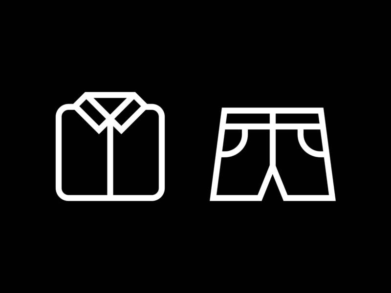 Icon design for fashion brand icons pictogram fashion men apparel shorts shirt iconography custom icons icon designer icon set icon design line icons outline icons