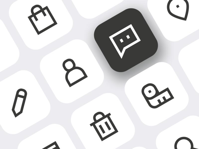 Custom icons for Danish fashion brand branding iconography icon set outline icons icon design custom icons icon designer freelance ui design ui icons line icons