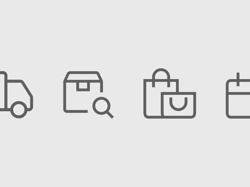 Outline icons for an eCommerce brand webshop delivery shopping ecommerce freelance icon design icon designer iconography icon set custom icons outline line ui icons