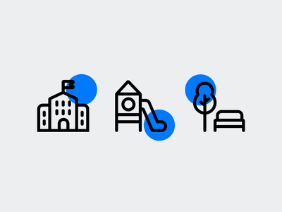 Icons style exploration by Xicons.studio icon set icons playground school park pictogram graphic design iconography custom icons outline icons line icons website icon designer icon design