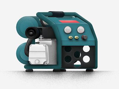 Air Compressor tool makita air vector ai ps illustrator photoshop illustration texture compressor design