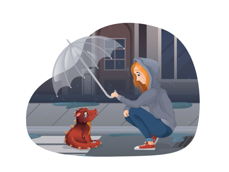 Girl and dragon in the rain drawing adobe illustrator landscape street rain girl dragon vectors illustraion flat character design