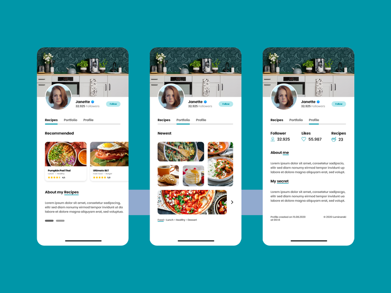 Recipes from Janette food app food recipe app recipes app adobe xd