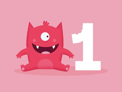 Monster Bday Card 1st one monster cute happy little baby pink illustration