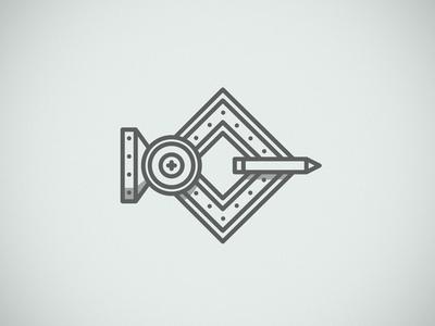 Robo logo robot illustration bolts pencil mechanical outline