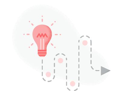 Strategic Marketing ideas process grunge marketing strategy arrow bulb illustration