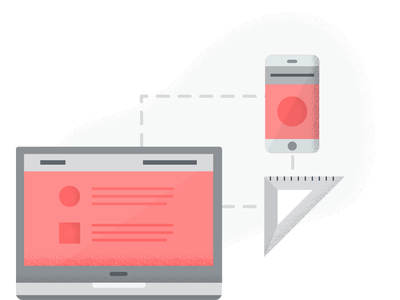 Website Dev wireframe process measure illustration phone laptop website development grunge