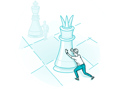 Position figure chess process position line hand drawn