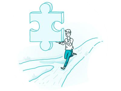 Agile problem solving hand drawn line agile build puzzle problem solve figure