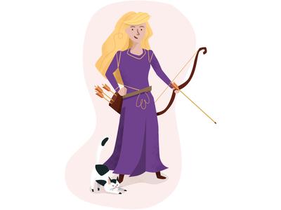 Princess Sadie the Archer handdrawn grunge flat illustration cartoon sidekick hero fantasy female princess archer cat