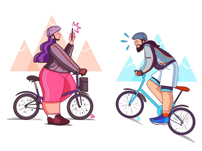 Bikers procreate illustration design illustration illustration art cycling brompton bikers