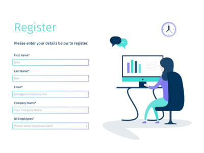 Landing Page Illustration - Event Registration speech bubble chat chart clock work working desk computer illustration form landing page register