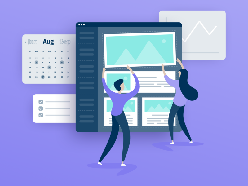 Illustration: Poppulo Solutions Pages drag and drop check trend woman man composition character girl boy list calendar planning insights analytics email graphic design uiux web design design illustration