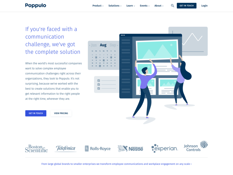 Web Design – Poppulo Solutions Pages web design graphic design illustration uiux user interface poppulo employee communications analytics insights email calendar planning checklist logos landing page website boy girl design vector