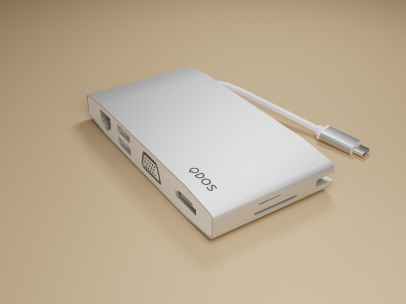 QDOS Mac Adapter hard surface modeling blender 3d artist 3d design