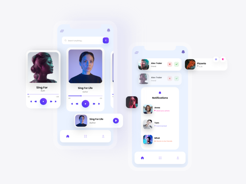 Music & Social App UI Components - iOS creative design music player blog design components colors music art social blog music creative app design ios app dribbble uxdesign uiux ux ui uidesign design