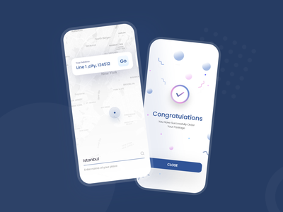 Delivery App - with Navigation Map user interface congratulation product design router delivery travel search navigation maps map app design ios app dribbble uxdesign ui ux design uiux uidesign