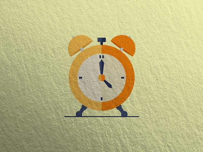 Orange Alarm Clock symbol cartoon landing page style wallpaper colorful outline art inspire color graphic trend object sign vector isolated icon flat illustration design