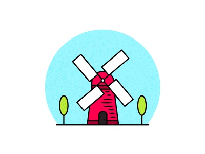 Windmill building design with trees symbol cartoon landing page style wallpaper colorful outline art inspire color graphic trend object sign vector isolated icon flat illustration design