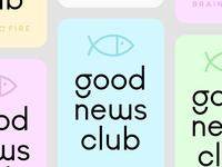 good. news. club. community jesus identity branding badge icon logo pastel news good club illustration fish