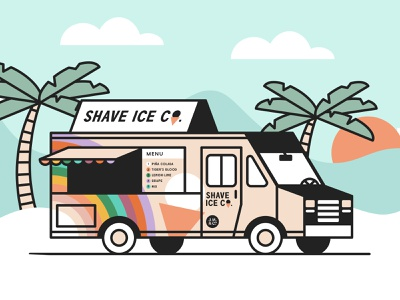 Shave Ice Food Truck | Weekly Warm-Up | Prompt No. 50 palmtrees illustration foodtruck icecream rainbow shavedice shaveice branding truck