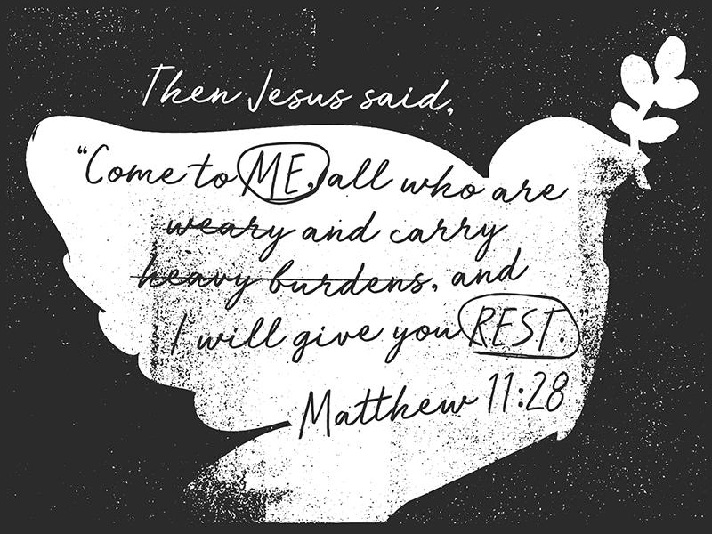 Matthew 11:28 weary burdens jesus rest illustration dove matthew verse bible 100 verses 100verses