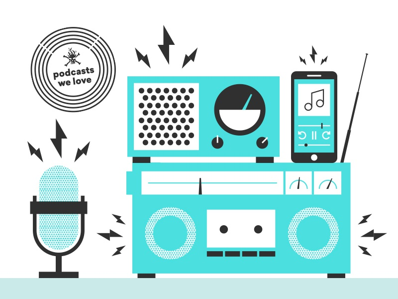 Podcasts We Love electricity podcast illustration microphone speaker phone radio