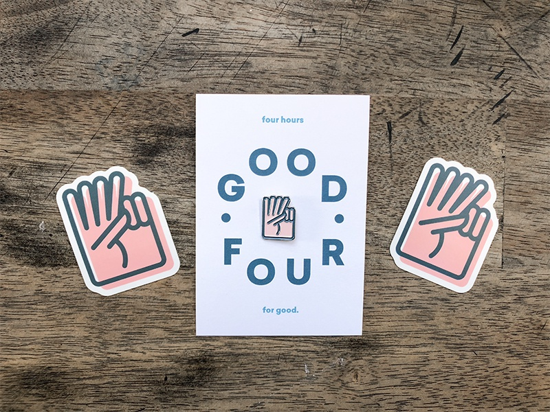 Good Four Swag volunteer swag icon good peace hand stickers enamel pin
