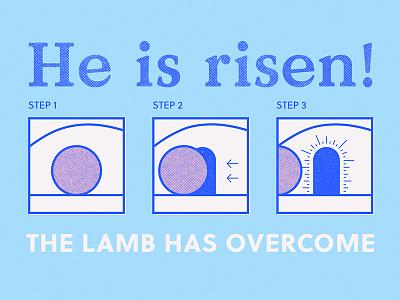 Easter 2018 life death jesus lamb illustration stone risen christian easter