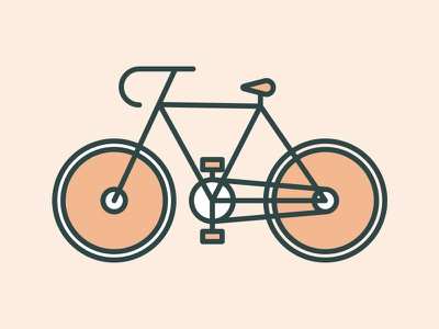 Neighborhood Bike Icon monoline gear bicycle fixie icon wheels crank illustration bike