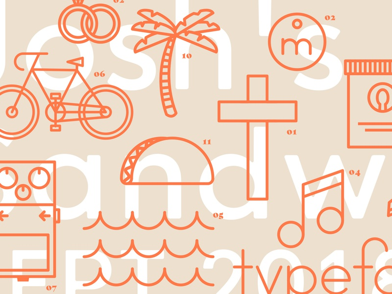 Icon Grid music cross taco rings bike jesus guitar waves gelato sea ocean monoline illustration icons icon