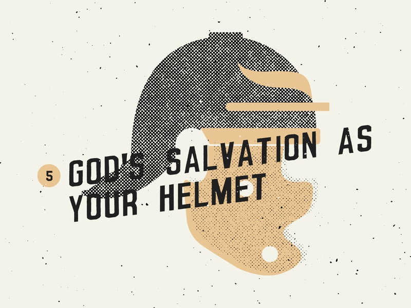 God's Salvation as Your Helmet halftone helmet salvation texture sermon art sermon series sermon series jesus illustration icons icon church design church christian bible