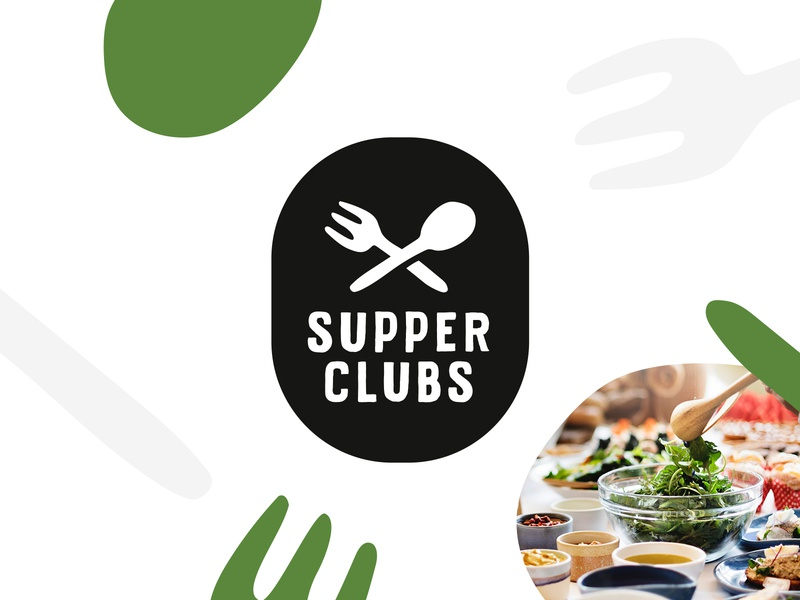 Supper Clubs branding identity illustration icon spoon knife fork food badge club supper