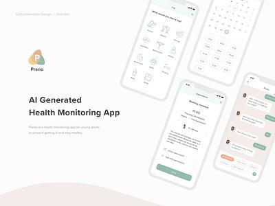 Preno UX/UI - AI Generated Health Monitoring App app design ai healthcare uxui