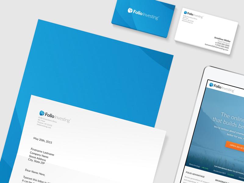 Folio Investing Stationery corporate blue stationery branding