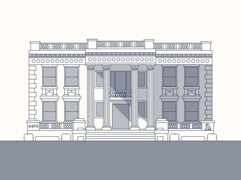 Scott House at VCU vector art vcu line art illustration