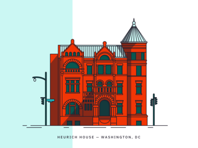 Heurich House dupont circle line drawing illustration washington dc heurich house