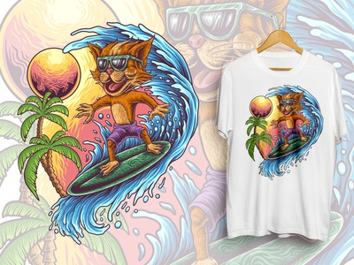 Cat Surfer cat lover kitty cat digital art graphic design logo art brand tshirt apparel clothing merchandise design artwork illustration