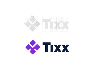 Tixx Logo Design bold wordmark purple clover event ticket grid guidelines logo cryptocurrency blockchain